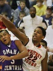 Omaha Central High School guard Kevin Scott's shot