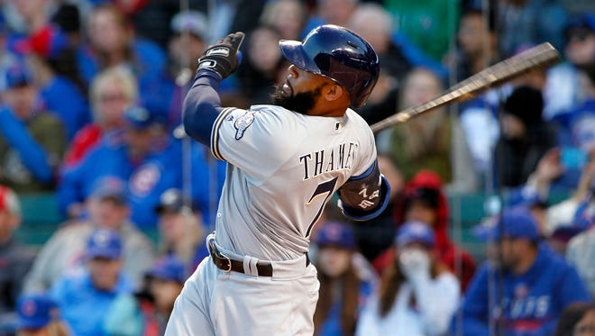 The Brewers' Eric Thames homered in five consecutive games and has raised his average above .400.
