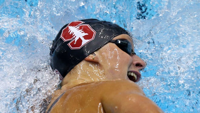FILE -- Katie Ledecky competes in the women's 400m freestyle in 2017