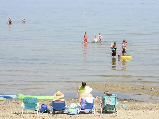 People began showing up at Blanchard Beach at Oakledge Park in Burlington in the morning as the heat settled in on Sunday, July 1, 2018. The temperature approached 90 degrees by 11 a.m., with the National Weather Service issuing an Excessive Heat Warning in the Champlain Valley through 10 p.m. Monday.The forecast calls for the temperature to top 90 degrees through Thursday.