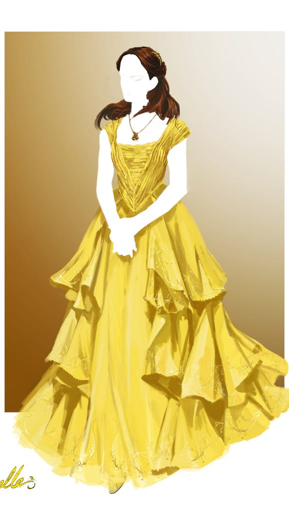 An illustration of the iconic yellow dress from 'Beauty