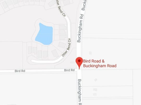 A crash involving a school bus blocked the intersection of Buckingham and Bird roads in Lee County on Monday, Dec. 11, 2017.