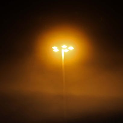 Early morning fog made for luminous mall light  at