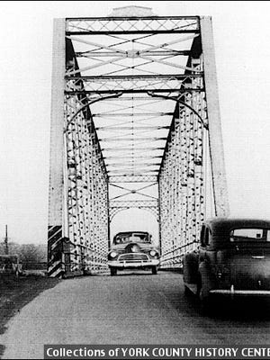 End View of One-Lane Loucks' Mill Bridge over Codorus Creek between Springettsbury and Manchester Townships (1947 Photo from Collections of York County History Center)