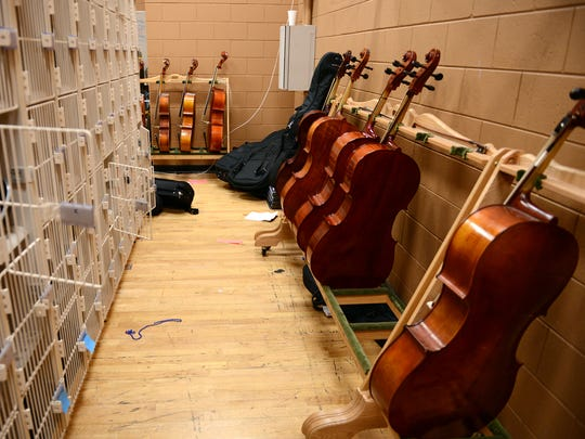 Orchestra instruments share storage space with theater