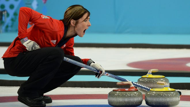 Eve Muirhead of Great Britain instructs her teammates in the curling bronze medal game.