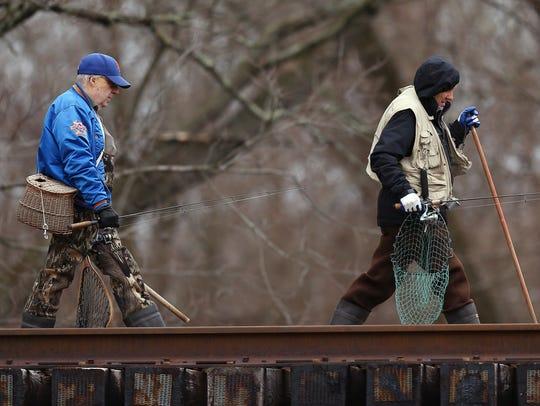 Rockaway River on the opening of trout fishing season
