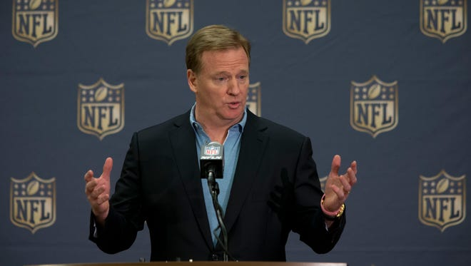 NFL Commissioner Roger Goodell speaks with the media, March 25, 2015, during the NFL owners meeting at the Arizona Biltmore.