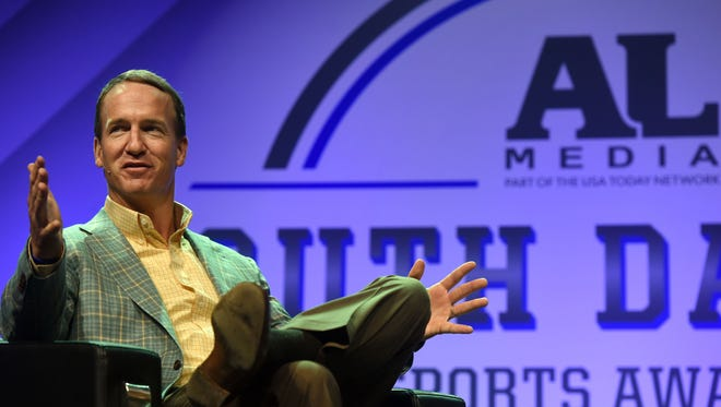 Peyton Manning answers questions during the South Dakota Sports Awards on Friday night at the Sanford Pentagon.