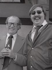Lee Shelander and Tigers broadcasting legend Ernie Harwell pose for a photo shortly before Lee's death in 1976. His brother, Steve, said another version of the same picture has another Tigers legend, Al Kaline, at Lee's left.