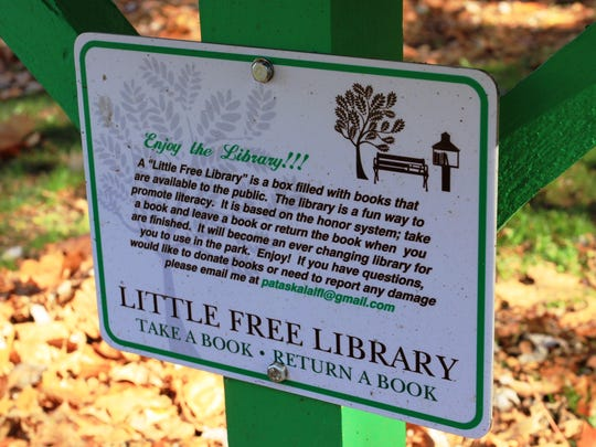 The tiny library at Municipal Park is part of the Little Free Library non-profit organization, which seeks to promote literacy.