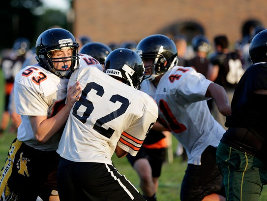 Marshfield players during practice August 5, 2016.