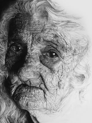 """Lisyanet Rodgriguez's detailed and large-scale charcoal work """"Brutal Light I"""" is part of Moremen-Moloney Contemporary's inaugural exhibit """"Cuban Art: Influence and Articulation."""""""
