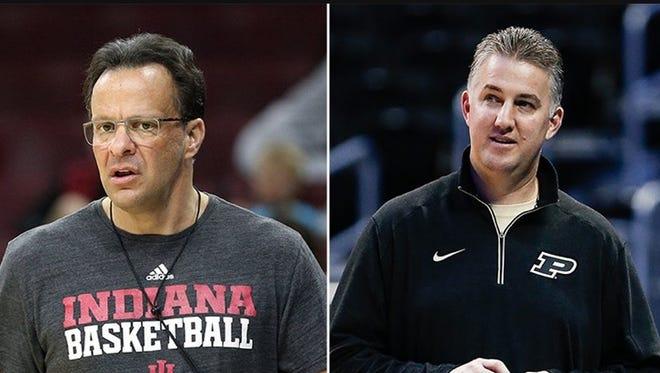 Indiana basketball coach Tom Crean (left) and Purdue basketball coach Matt Painter.