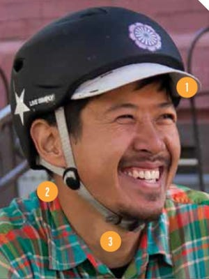 """1. Two fingers' width between eyebrows and helmet.   2. Side straps make a """"Y"""" below the ear.   3. Less than 1/2 an inch between the chin and the strap."""