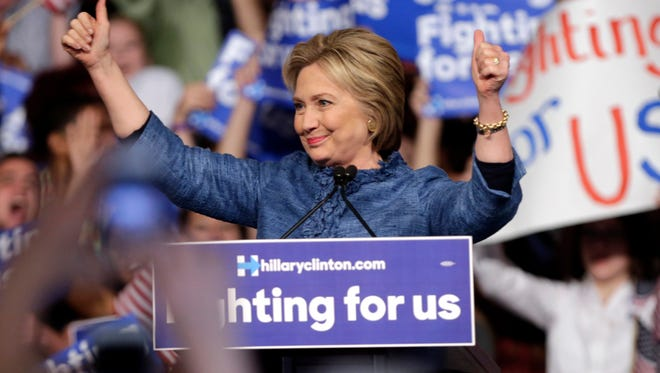 Democratic presidential candidate Hillary Clinton arrives at a campaign rally, Tuesday, March 15, 2016, in West Palm Beach, Fla. (AP Photo/Lynne Sladky)