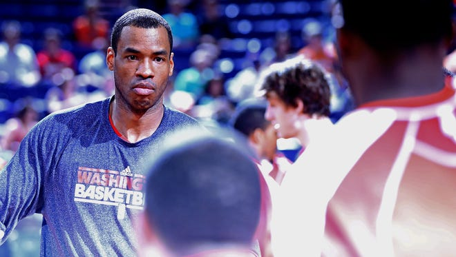 Jason Collins last March prior to a game between the Washington Wizards and Phoenix Suns at the US Airways Center.