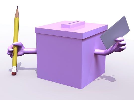 Pink election ballot box cartoon