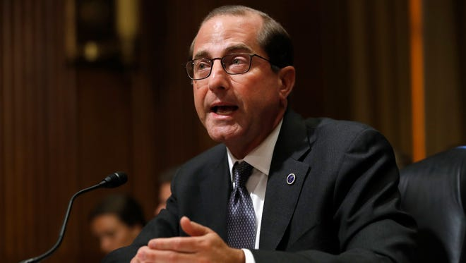 Secretary Alex Azar of the Department of Health and Human Services speaks June 26, 2018, during a Senate Finance Committee hearing on prescription drug pricing in Washington.