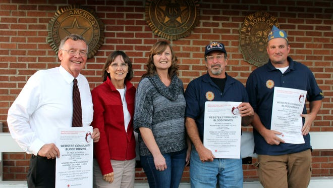 Webster Community Blood Drive organizers Chris Kotary and Shirley Humphrey are joined by Sons of the American legion Auxiliary president Karen Reyes, Sons member Paul Kubrich and commander Nate Burdick. (M. Rosenberry)