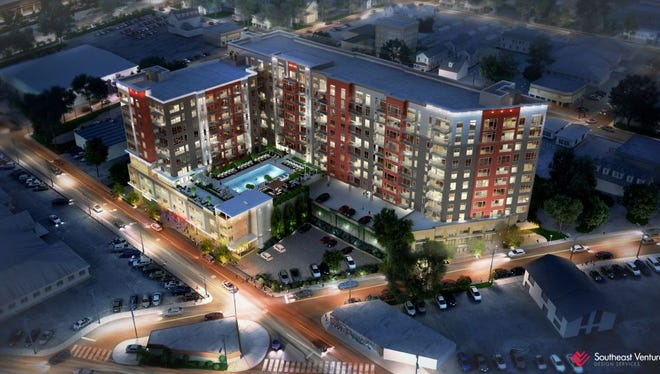 A rendering of the Sixth South apartments planned for the SoBro neighborhood between Peabody Street and Lea Avenue.