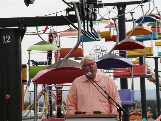 NC Agriculture Commissioner Steve Troxler speaks at a safety press conference for the NC Mountain State Fair on Sept. 10, 2015.