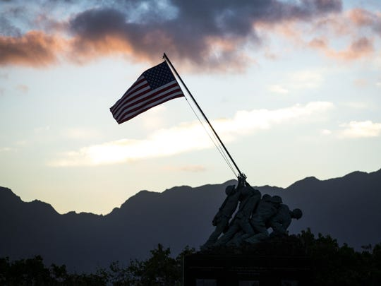 A scaled down replica of the Iwo Jima Memorial is seen at the main gate of Marine Corps Base Hawaii.