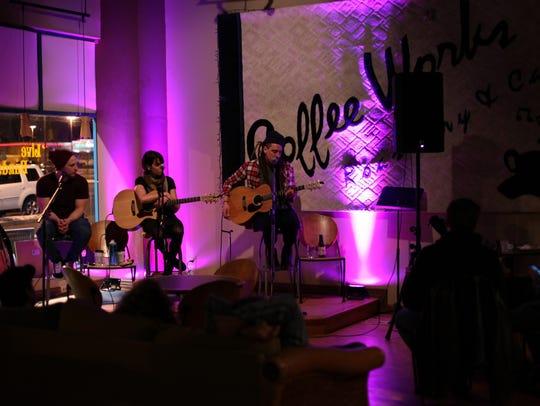 Jake Falana, Katie McCorry and Aaron Jayat perform