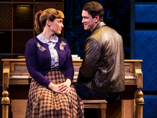 "Sarah Bockel and Andrew Brewer as Carole King and husband Gerry Goffin in ""Beautiful: The Carole King Musical."""