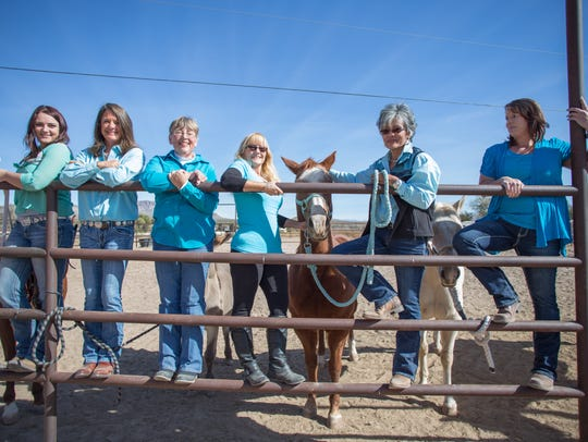 Pictured are the staff of Equine Assisted Programs of Southern New Mexico, from left, Holly Bowen, therapist, Nancy Marshall, CEO, Sandy Stein, horse specialist, Dianna Yielding, horse specialist, Donna Gallegos, CEO, and Jessica Johnson, therapist. Not pictured is Debbie Della Rocco, horse specialist. Monday, Nov. 20, 2017.