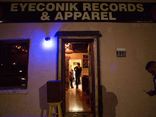 The front of Eyeconik Records & Apparel on Campo Street. The venue regularly offers free live music, featuring local musicians, as well as touring bands.