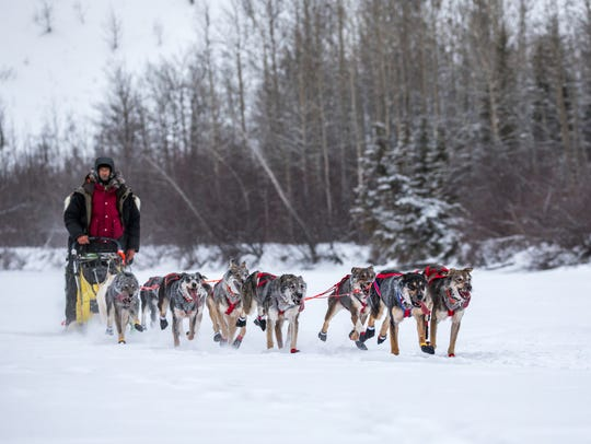 Nicolas Petit and his sled dog team compete in a race