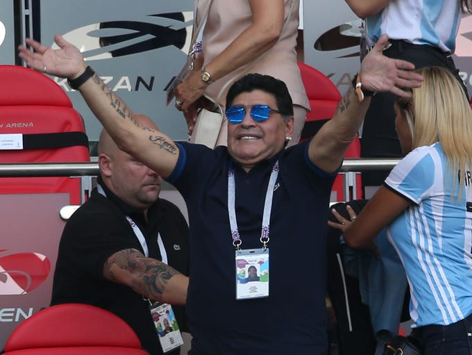 Diego Maradona reacts during Argentina's Round of 16