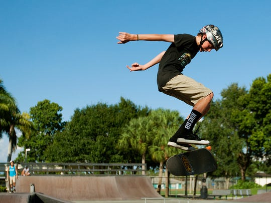 Sam Kenney, 13, skateboards Wednesday at the Bonita Springs Skatepark. Kenney was one of several local skaters that fought to keep the park open.