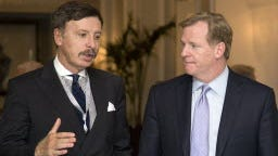 In this 2013 file photo, Stan Kroenke, owner of the St. Louis Rams football team, left, talks with NFL Commissioner Roger Goodell during a break in NFL meetings in Washington. Kroenke has partnered with Stockbridge Capital Group, owners of the 238-acre Hollywood Park site in Inglewood, Calif., to build an NFL stadium that could host up to two NFL franchises. Three franchises -- the Rams, San Diego Chargers and Oakland Raiders -- are considered in the running to relocate to L.A. within the next few years.