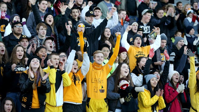 Cascade fans cheer against Scappoose during the OSAA 4A state championship game, Saturday, November 28, 2015, at Hillsboro Stadium in Hillsboro, Ore. Cascade won the game 37-28.