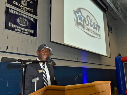 PSMA Chancellor Dr, Francis Kofi Achampong speaks to a group on Thursday, October 20, 2016 at the Chamber Business & Industry Expo at Penn State Mont Alto.