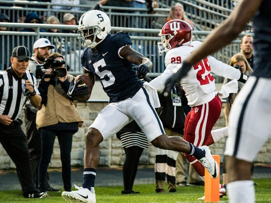 Penn State's DaeSean Hamilton scores a touchdown on a pass from Saquon Barkley as Penn State beat Indiana University 45-14 on Saturday, Sept. 30, 2017.