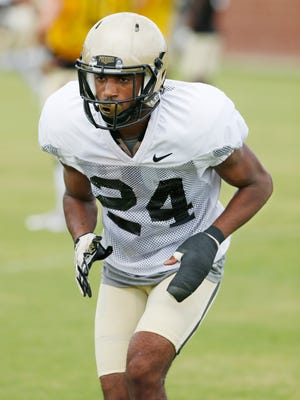 Cornerback Tim Cason runs a drill aas Purdue football practices Thursday, August 11, 2016, on the campus of DePauw University in Greencastle.