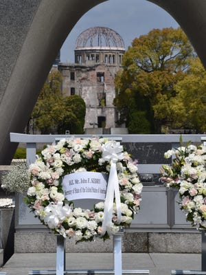 A wreath placed by U.S. Secretary of State John Kerry is seen in front of the memorial to victims of the 1945 atomic bomb attack in Hiroshima, Japan, on April 11, 2016.