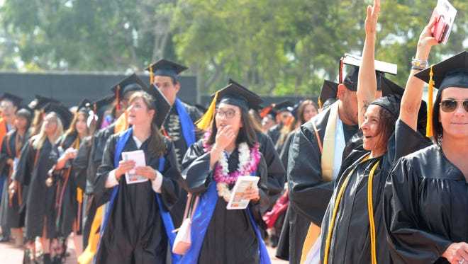 The Ventura College graduation ceremony took place May 18, 2018, at the school's athletics field. Students celebrated graduation after the Thomas Fire burned through the city, canceling classes and destroying the homes of some students, faculty members and administrators.