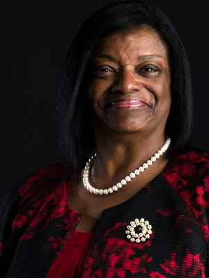 Deborah Anthony an Alabama Senate candidate stands for a portrait at the Montgomery Advertiser, in Montgomery, Ala.