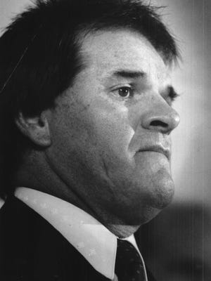 Pete Rose during press conference at Riverfront Stadium. T