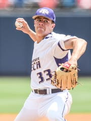 Tennessee Tech pitcher Travis Moths (33) pitches against