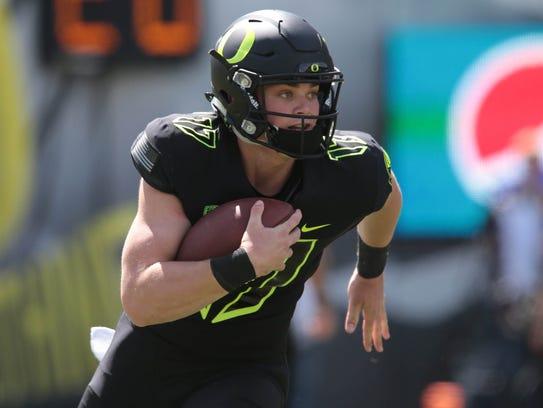 Apr 29, 2017; Eugene, OR, USA; Oregon quarterback Braxton