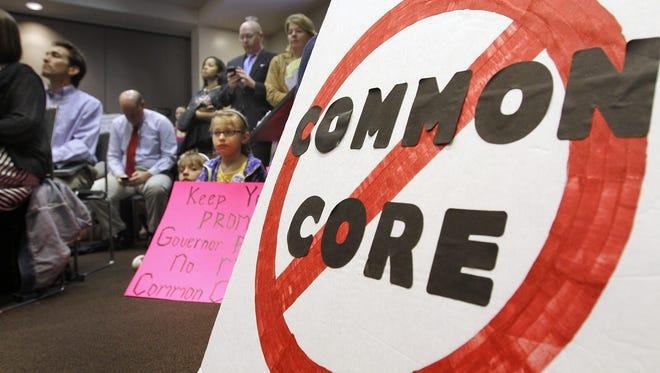 Common Core protesters packed a  meeting of the  Indiana Education Roundtable in April.