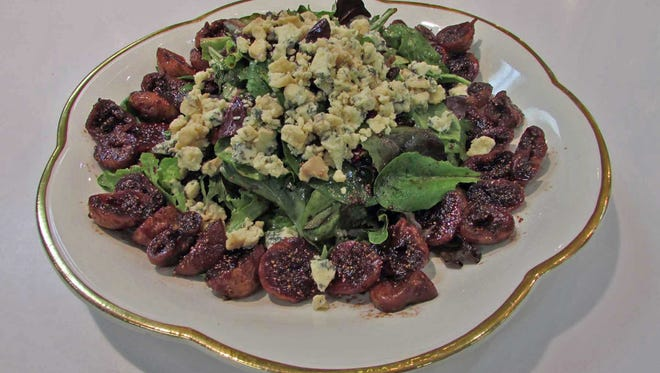 Dried Mission Fig & Stilton Salad with Port Wine Dressing over Baby Greens