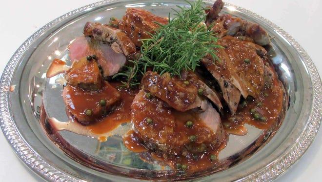 Roasted Pork Tenderloin with Madeira Green Peppercorn Sauce