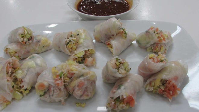 Shrimp and Vegetable Spring Rolls with Apricot Dipping Sauce.