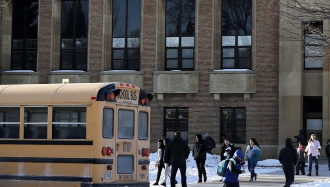 Students leave Washington Middle School  at the end of the school day.